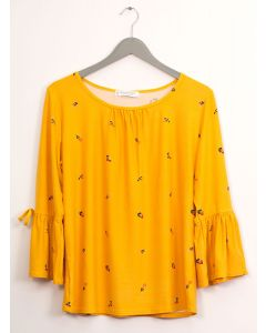 Bell Sleeve Layered Floral Top - Mustard