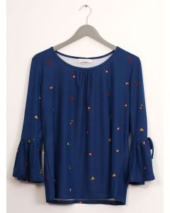 Bell Sleeve Layered Floral Top - Blue