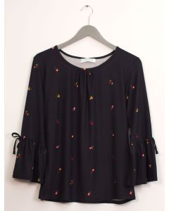 Bell Sleeve Layered Floral Top - Black