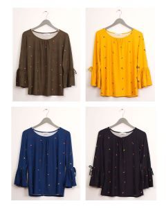 Bell Sleeve Layered Floral Top - Assorted