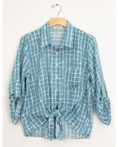 Tie Front Checker Blouse - Light Teal