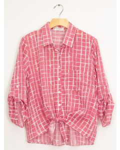 Tie Front Checker Blouse - Rose