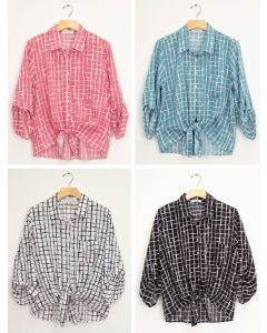 Tie Front Checker Blouse - Assorted