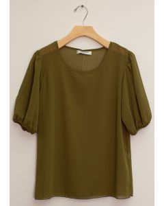 3/4 Puff Sleeve Blouse - Olive