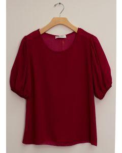 3/4 Puff Sleeve Blouse - Burgundy