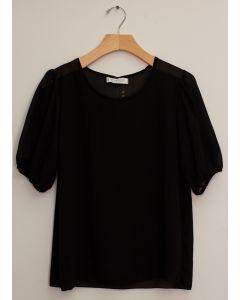 3/4 Puff Sleeve Blouse - Black