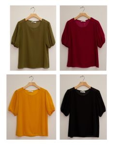 3/4 Puff Sleeve Blouse - Assorted