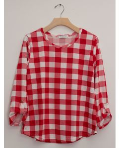 Hacci Checker Print Top - Red Plaid