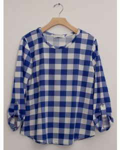 Hacci Checker Print Top - Royal Plaid