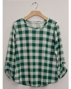 Hacci Checker Print Top - Green Plaid