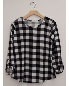 Hacci Checker Print Top - Black Plaid