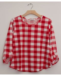 Plus Checker 3/4 Sleeve Top - Red