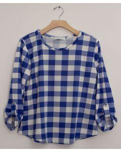 Plus Checker 3/4 Sleeve Top - Royal