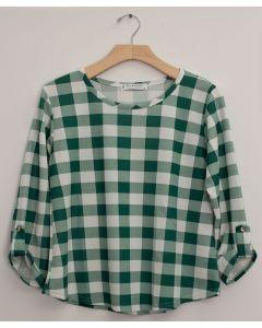Plus Checker 3/4 Sleeve Top - Green