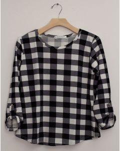 Plus Checker 3/4 Sleeve Top - Black