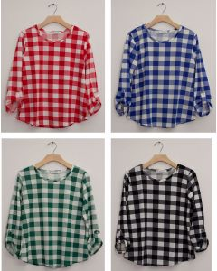 Plus Checker 3/4 Sleeve Top - Assorted