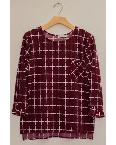 3/4 Sleeve Checker Print Top - Burgundy