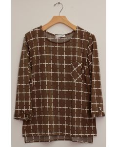 3/4 Sleeve Checker Print Top - Taupe