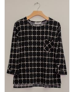 3/4 Sleeve Checker Print Top - Black