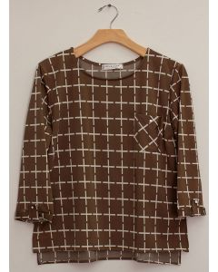 Plus 3/4 Sleeve Checker Print Top - Taupe