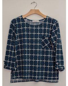 Plus 3/4 Sleeve Checker Print Top - Teal