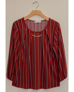 3/4 Sleeve Stripe Bar Neck Top - Terracotta