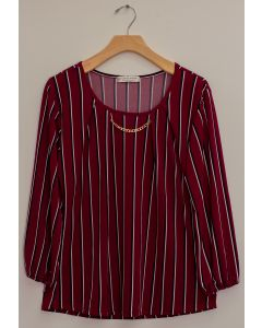 3/4 Sleeve Stripe Bar Neck Top - Burgundy