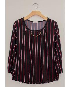 3/4 Sleeve Stripe Bar Neck Top - Black