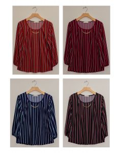 3/4 Sleeve Stripe Bar Neck Top - Assorted