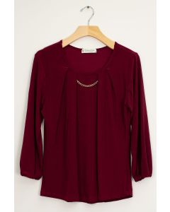 3/4 Sleeve Solid Bar Neck Top - Wine