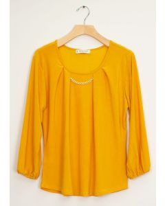 3/4 Sleeve Solid Bar Neck Top - Mustard