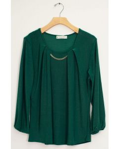 3/4 Sleeve Solid Bar Neck Top - Hunter Green