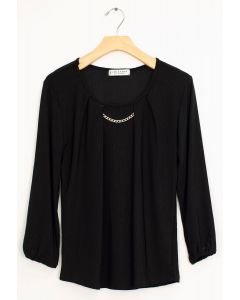 3/4 Sleeve Solid Bar Neck Top - Black