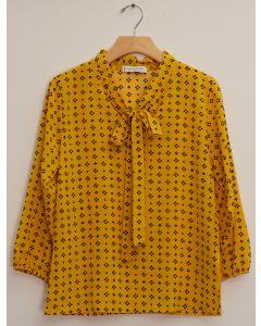 3/4 Sleeve Tie Front Printed Blouse - Mustard