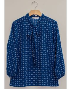 3/4 Sleeve Tie Front Printed Blouse - Royal Blue