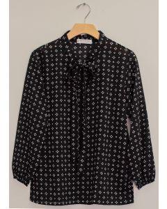 3/4 Sleeve Tie Front Printed Blouse - Black
