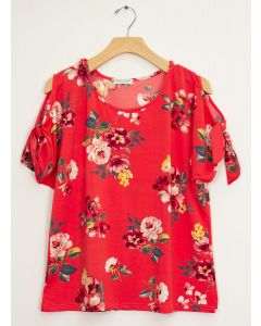 Floral Tie Short Sleeve Top - Red