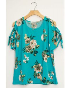 Floral Tie Short Sleeve Top - Turquoise