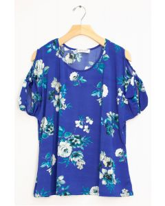 Floral Tie Short Sleeve Top - Royal Blue