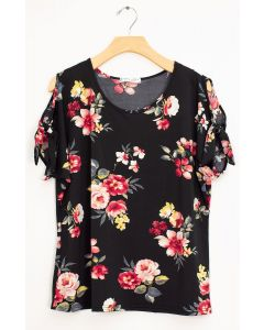 Floral Tie Short Sleeve Top - Black