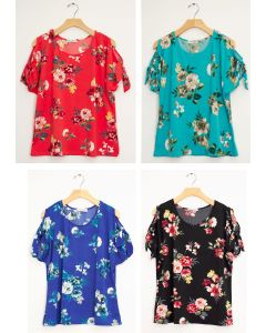 Floral Tie Short Sleeve Top - Assorted
