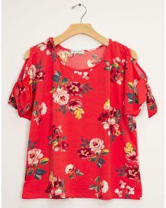 Plus Floral Cold Shoulder Tie Top - Red