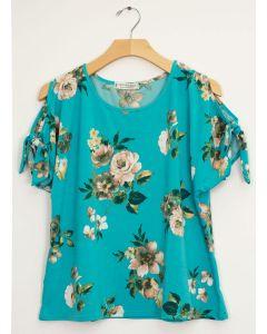 Plus Floral Cold Shoulder Tie Top - Turquoise