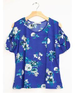 Plus Floral Cold Shoulder Tie Top - Royal Blue