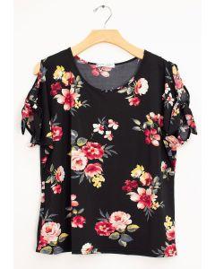 Plus Floral Cold Shoulder Tie Top - Black