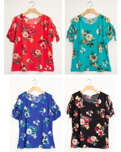 Plus Floral Cold Shoulder Tie Top - Assorted