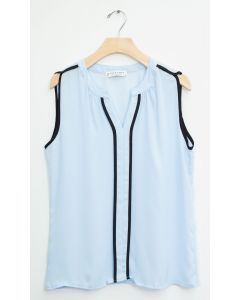 Sleeveless Two Stripe Blouse - Light Blue