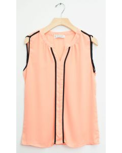 Sleeveless Two Stripe Blouse - Peach