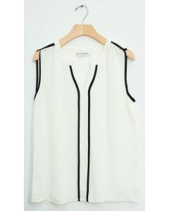 Sleeveless Two Stripe Blouse - White