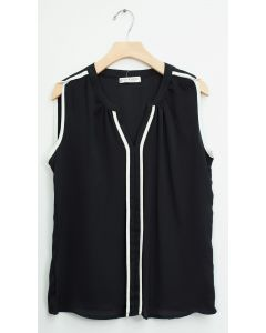 Sleeveless Two Stripe Blouse - Black